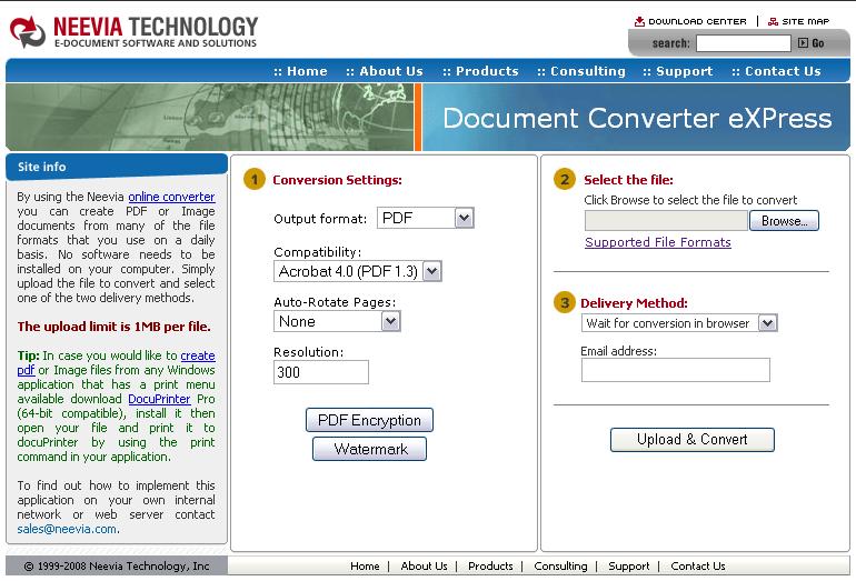 Web screen shot: Neevia Technology